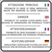 Descrizione del pericolo di piena improvvisa in 4 lingue